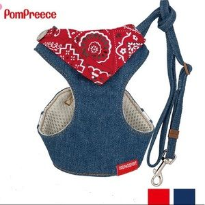Dog harness and leash set bandana denim